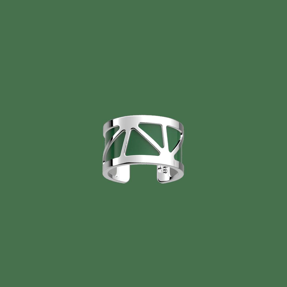 Bague 12 mm, Solaire, Finition Argentée, Vert Bouteille / Gris Vernis