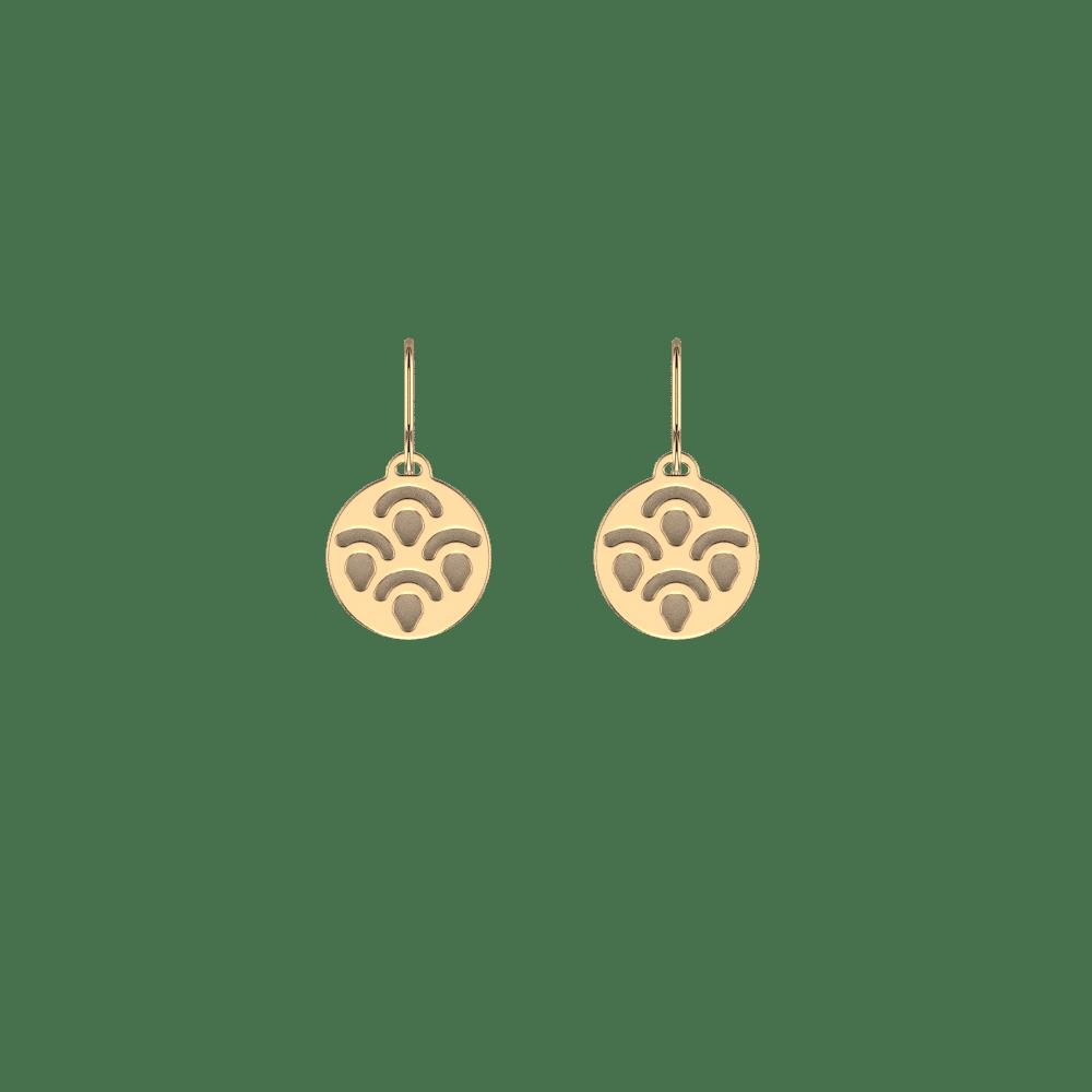 Boucles d'oreilles 16 mm, Poisson, Finition Dorée, Crème / Paillettes Dorées