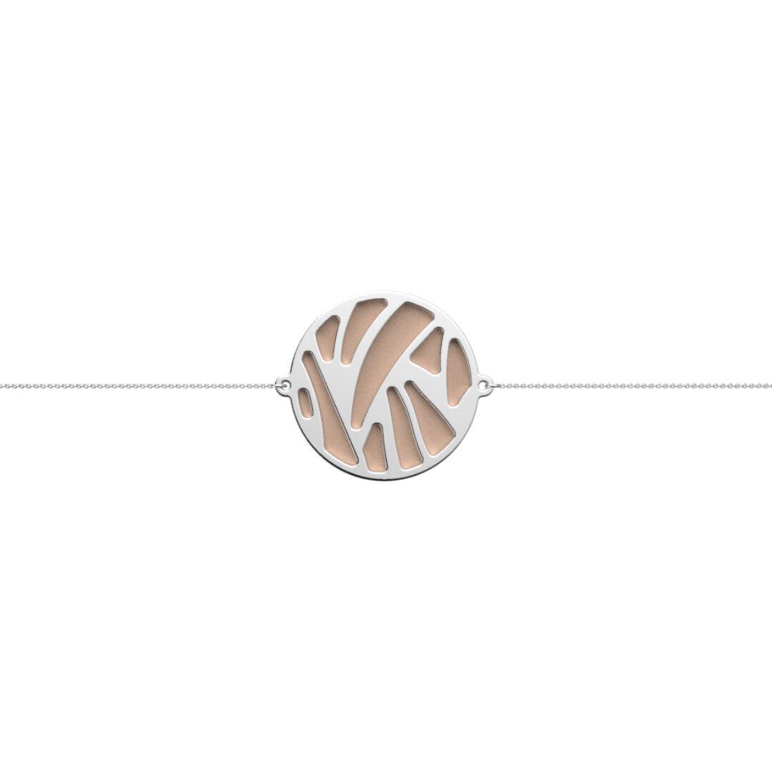 Bracelet Chaîne, Perroquet, Finition Argentée, Nude / Aquatic