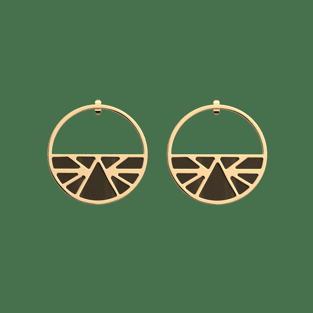 Boucles d'oreilles Créoles 43 mm, Ibiza, Finition Dorée, Blush / Bronze