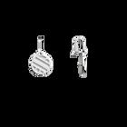 Ruban Sleeper Earrings, Silver finish, Black / White image number 4