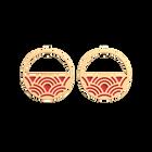 Boucles d'oreilles Créoles Poisson, Finition dorée, Noir Pailleté / Rouge Soft image number 2
