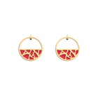 Girafe Small Small Hoop Earrings, Gold finish, Glitter Black / Soft Red image number 2