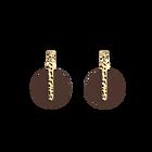 Boucles d'oreilles Martelle, Finition dorée, Reptile Graphique / Chocolat image number 3