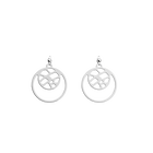 Fougères Double Round 16mm Earrings, Silver finish image number 1