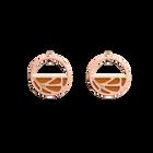 Boucles d'oreilles Petites Créoles Fleurs du Nil, Finition dorée rose, Lapis / Papyrus image number 2