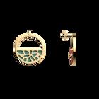 Boucles d'oreilles Petites Créoles Nénuphar, Finition dorée, Bleu Minéral / Argile Rose image number 3