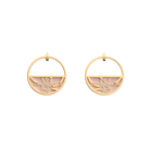Boucles d'oreilles Petites Créoles Pétales, Finition dorée, Gris Clair / Rose Clair image number 1