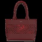 Burgundy Le Cabas Zippé Dentelle Bag, Girafe pattern - Metallic Red lining image number 1