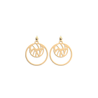 Perroquet Double Round 16mm Earrings, Gold finish image number 1