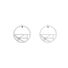 Fleurs du Nil Hoop 30 mm Earrings, Silver finish image number 1