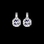 Boucles d'oreilles Dormeuses Perroquet, Finition argentée, Indigo / Blanc Cassé image number 1