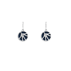 Fleurs du Nil Sleeper Earrings, Silver finish, Sun / Navy Blue image number 2