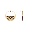 Boucles d'oreilles Créoles Poisson, Finition dorée, Noir Pailleté / Rouge Soft image number 3