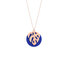 Monstera Necklace, Rose gold finish, Royal Blue / Mermaid Pink image number 1