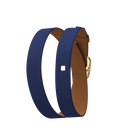Bracelet cuir Double tour, Bleu Denim / Canyon, boucle dorée image number 1
