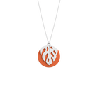 Monstera Necklace, Silver finish, Multicoloured Glitter / Tangerine image number 2