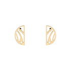 Perroquet Half-moon 30 mm Earrings, Gold finish image number 1