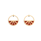 Papyrus Small Hoop Earrings, Gold finish, Glitter Black / Soft Red image number 2