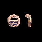 Boucles d'oreilles Petites Créoles Fleurs du Nil, Finition dorée rose, Lapis / Papyrus image number 3