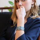Manchette Écorces, Finition argentée, Bleu Minéral / Argile Rose image number 1