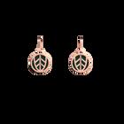 Boucles d'oreilles Dormeuses Faucon, Finition dorée rose, Bleu Paon / Feu Vif image number 1