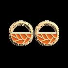 Boucles d'oreilles Créoles Tresse, Finition dorée, Orange Pailleté / Orange Soft image number 2