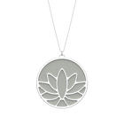 Collier Lotus, Finition argentée, Indigo / Blanc Cassé image number 2