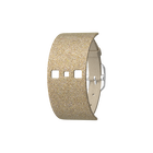 Bracelet Cuir Crème / Paillettes dorées, boucle argentée image number 1