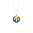 Monstera Necklace, Gold finish, Terracotta / Lagoon Blue image number 2