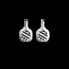 Ruban Sleeper Earrings, Silver finish, Black / White image number 1