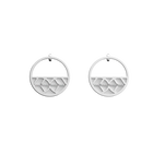 Faucon Small Hoop Earrings, Silver finish, Black / White image number 2