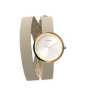 Cream / Gold Glitter Wraparound Watch, Gold finishes image number 3