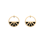 Papyrus Small Hoop Earrings, Gold finish, Glitter Black / Soft Red image number 1