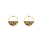 Girafe Small Small Hoop Earrings, Gold finish, Glitter Black / Soft Red image number 1