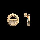 Boucles d'oreilles Petites Créoles Pétales, Finition dorée, Gris Clair / Rose Clair image number 4