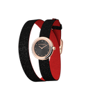 Black Glitter / Red Wraparound Watch, Rose Gold finishes image number 2