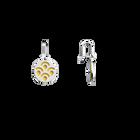 Poisson Sleeper Earrings, Silver finish, Sun / Navy Blue image number 3
