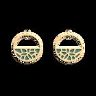 Boucles d'oreilles Petites Créoles Nénuphar, Finition dorée, Bleu Minéral / Argile Rose image number 1