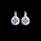 Poisson Sleeper Earrings, Silver finish, Sun / Navy Blue image number 2