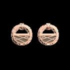 Boucles d'oreilles Petites Créoles Liens, Finition dorée rose, Rouge Orangé / Taupe Soft image number 2