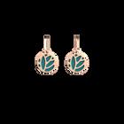 Boucles d'oreilles Dormeuses Lotus, Finition dorée rose, Terracotta / Bleu Lagon image number 2