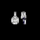 Boucles d'oreilles Dormeuses Perroquet, Finition argentée, Indigo / Blanc Cassé image number 4