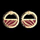 Boucles d'oreilles Créoles Vibrations, Finition dorée, Noir Grainé / Magenta image number 3