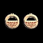 Boucles d'oreilles Petites Créoles Nénuphar, Finition dorée, Bleu Minéral / Argile Rose image number 2