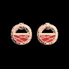 Boucles d'oreilles Petites Créoles Liens, Finition dorée rose, Rouge Orangé / Taupe Soft image number 1