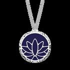 Collier Lotus, Finition argentée, Indigo / Blanc Cassé image number 1