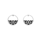 Faucon Small Hoop Earrings, Silver finish, Black / White image number 1