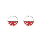 Courbe Small Hoop Earrings, Silver finish, Orange Red / Soft Taupe image number 1