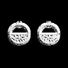 Boucles d'Oreilles Nénuphar, Créoles 30 mm, Finition argentée image number 1